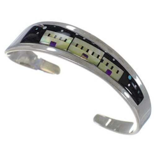 Silver Multicolor Jewelry Native American Design Cuff Bracelet YS67349
