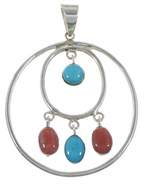 Southwestern Turquoise Coral Silver Pendant PS60310