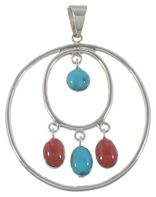Coral Turquoise Silver Southwestern Pendant PS60312