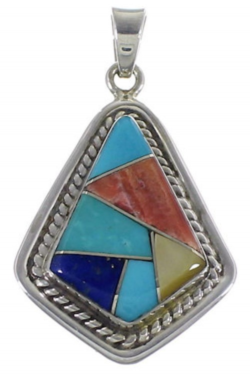 Southwest Multicolor Inlay And Silver Pendant EX29608