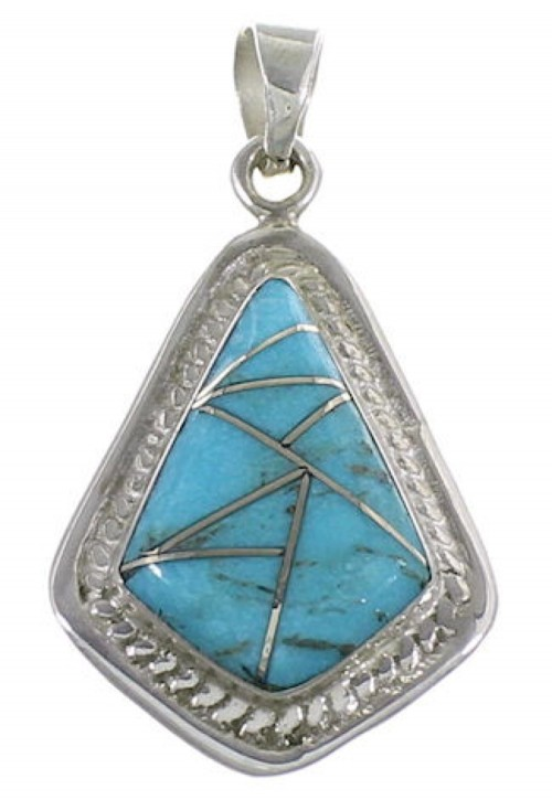 Southwestern Turquoise Inlay and Sterling Silver Pendant IS58545