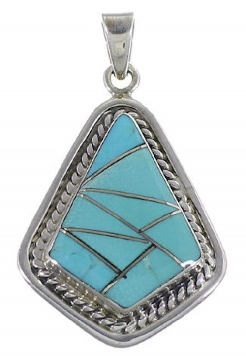Turquoise Jewelry Sterling Silver Pendant EX29589
