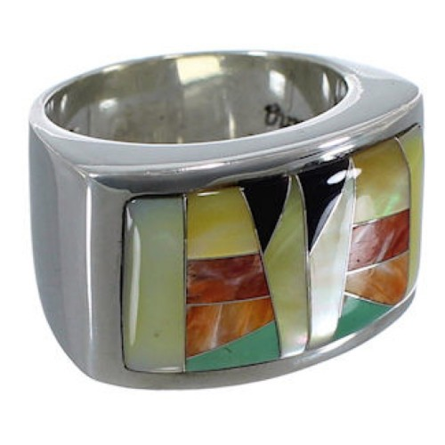 Multicolor Sterling Silver Whiterock Jewelry Ring Size 8-1/4 RS34766