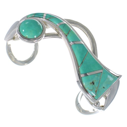 Turquoise Inlay And Sterling Silver Cuff Bracelet TX40230