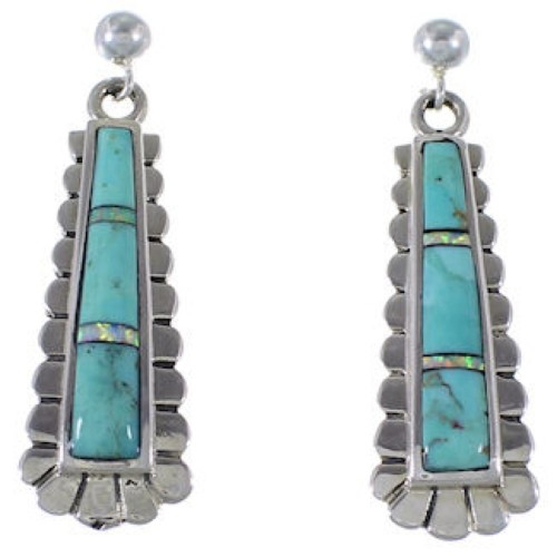 Sterling Silver Turquoise Opal Inlay Post Dangle Earrings RS39661