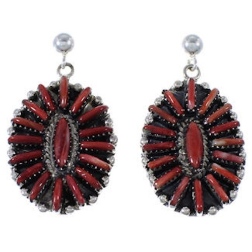 Genuine Sterling Silver Red Oyster Shell Post Dangle Earrings RS39580