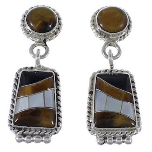 Sterling Silver Multicolor Inlay Southwest Earrings PS63235