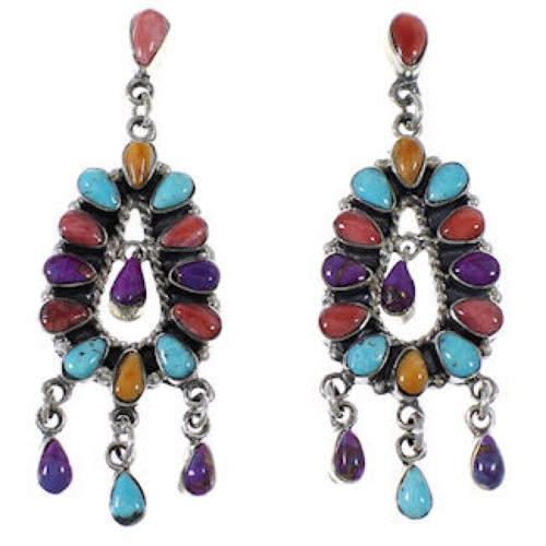 Turquoise And Multicolor Sterling Silver Post Dangle Earrings AW69309