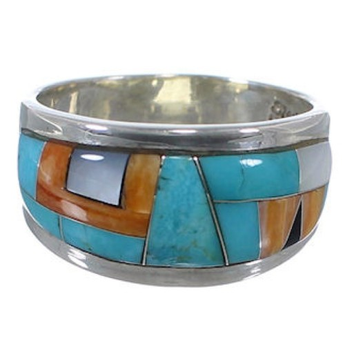 Sterling Silver And Multicolor Inlay Ring Size 8-1/4 RS43267