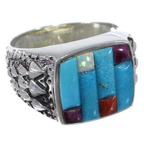 Sterling Silver Turquoise Multicolor Inlay Ring Size 11-1/4 HS29586