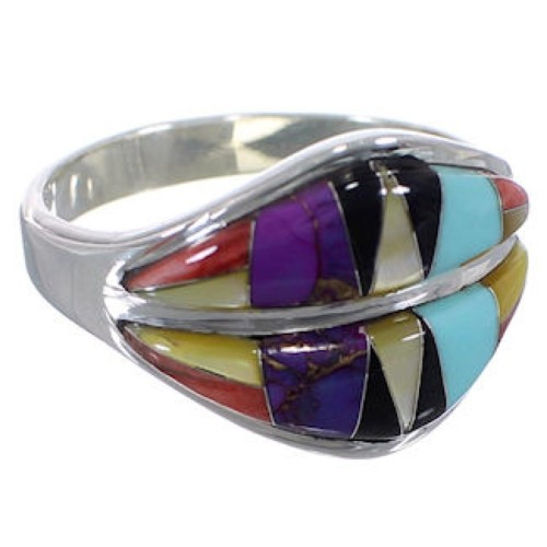 Southwestern Multicolor Inlay Silver Ring Size 6-3/4 MX23452