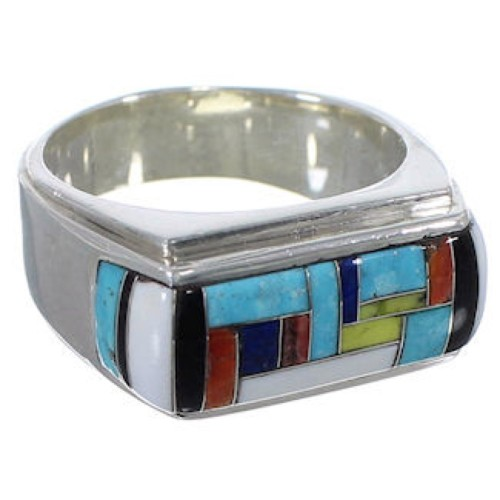 Multicolor Inlay Jewelry Sterling Silver Ring Size 12-1/4 HS36717