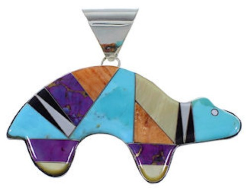 Turquoise Multicolor Inlay Sterling Silver Bear Slide Pendant DS39211