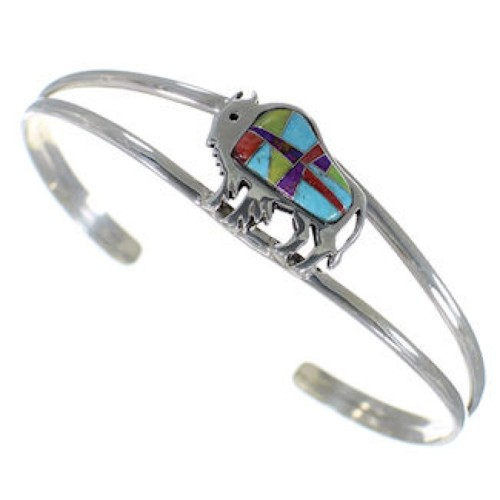 Silver Jewelry Turquoise Multicolor Buffalo Cuff Bracelet HS29918