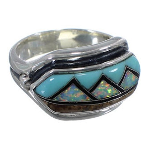 Multicolor Inlay Sterling Silver Southwest Ring Size 7-1/2 BW72397