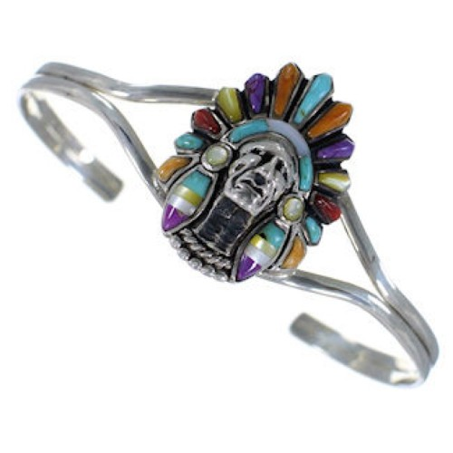 Multicolor Inlay And Sterling Silver Chief Head Bracelet BW70166