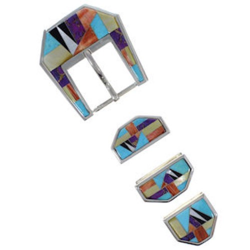 Multicolor Inlay Sterling Silver Ranger Belt Buckle GS57058