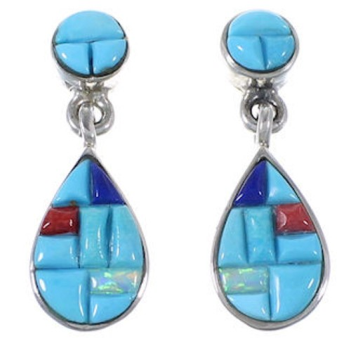 Sterling Silver Turquoise Multicolor Post Dangle Earrings AW71338