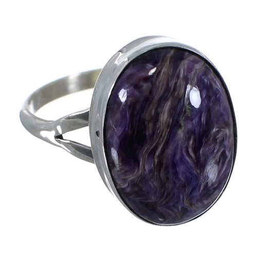 Charoite Sterling Silver Jewelry Navajo Ring Size 6-3/4 PX40362