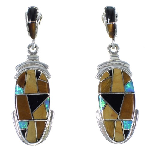 Sterling Silver And Multicolor Inlay Earrings EX41224