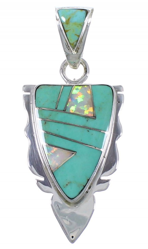 Turquoise And Opal Inlay Pendant Southwest Jewelry PX42108