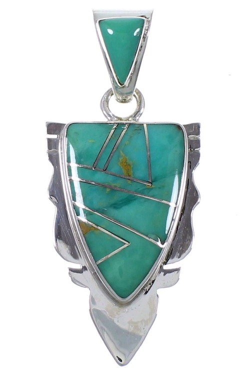Turquoise Inlay Southwest Silver Pendant PX42142