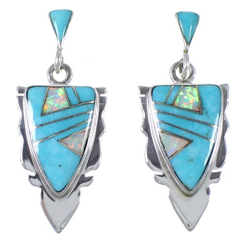 Sterling Silver Turquoise And Opal Earrings EX44484