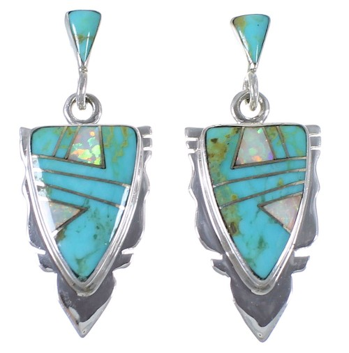 Genuine Sterling Silver Turquoise And Opal Earrings EX44489