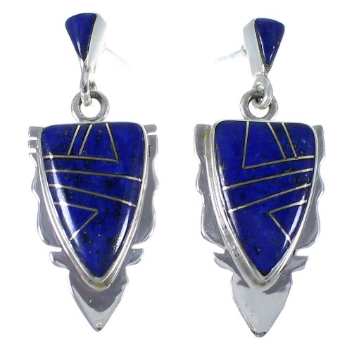 Lapis Inlay Southwest Silver Earrings EX44493