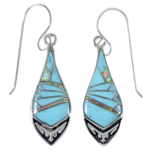 Turquoise And Opal Southwestern Earrings EX41151