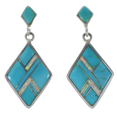 Turquoise And Opal Inlay Silver Southwest Earrings EX44793