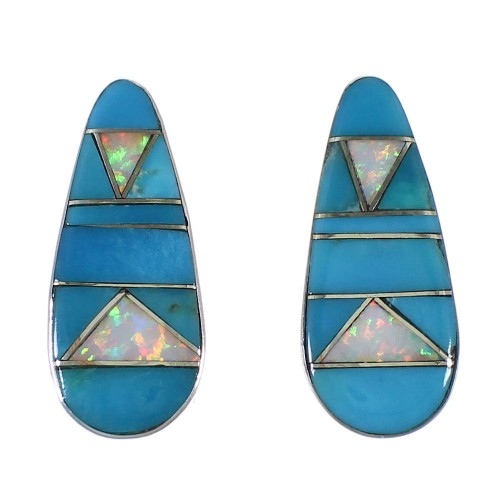 Turquoise And Opal Sterling Silver Earrings EX44831