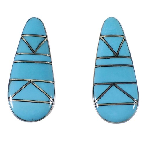Turquoise Inlay Southwest Silver Earrings EX44840