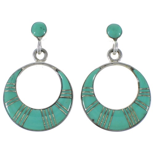 Turquoise Inlay Authentic Sterling Silver Post Dangle Earrings AX48671