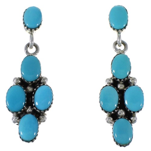 Silver Turquoise Post Dangle Earrings AX48692