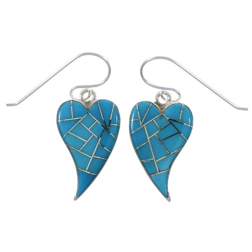 Sterling Silver Heart And Turquoise Hook Dangle Earrings CX46447