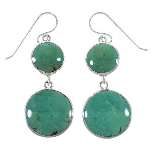 Southwestern Turquoise Sterling Silver Hook Dangle Earrings AX49142