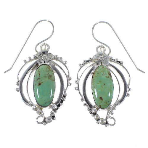 Turquoise Sterling Silver Hook Dangle Earrings Jewelry AX49240
