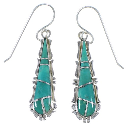 Genuine Sterling Silver And Turquoise Hook Dangle Earrings CX46587