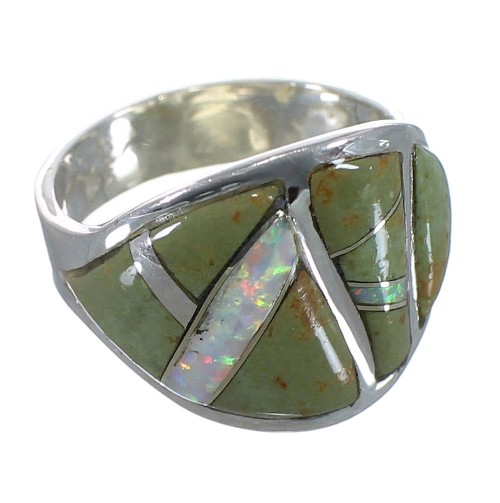 Sterling Silver Turquoise And Opal Ring Size 6-1/2 EX44730