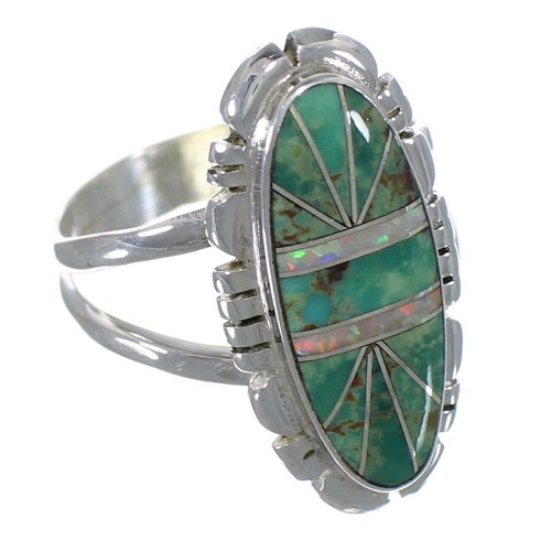Southwestern Turquoise And Opal Silver Ring Size 6-3/4 AX52632