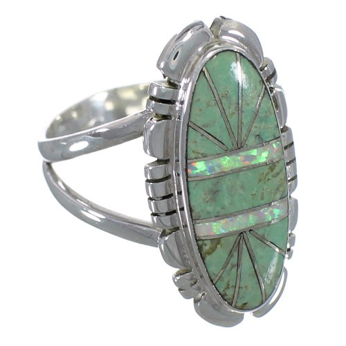 Opal And Turquoise Inlay Silver Jewelry Ring Size 8-1/4 AX52664