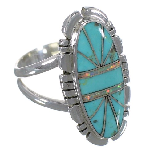 Turquoise Opal Genuine Sterling Silver Ring Size 6-1/4 AX52785