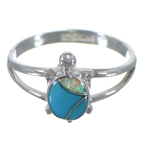 Silver Opal Turquoise Turtle Southwestern Ring Size 5-3/4 TX46715