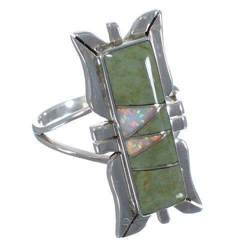 Turquoise And Opal Silver Southwestern Ring Size 7-1/4 AX53658
