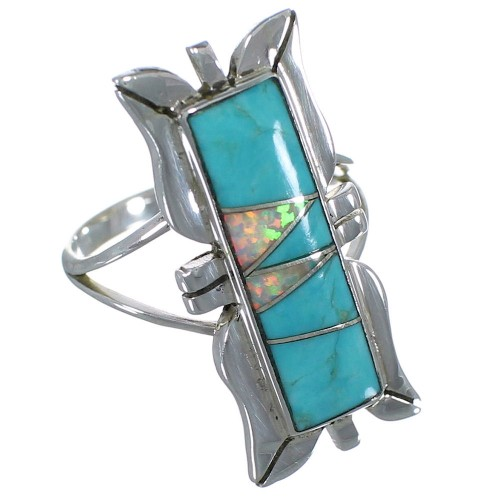 Southwest Turquoise And Opal Inlay Silver Jewelry Ring Size 7-3/4 AX53827