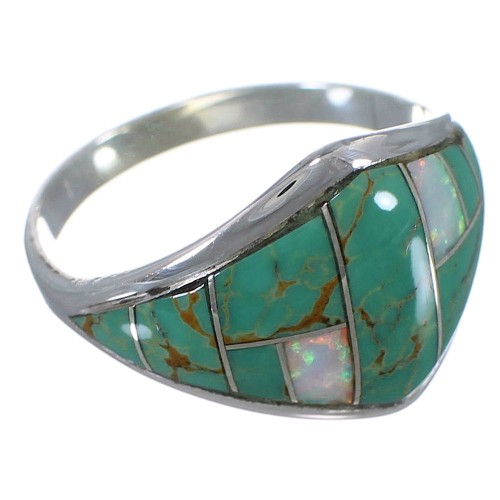 Turquoise And Opal Genuine Sterling Silver Ring Size 8-3/4 AX52305