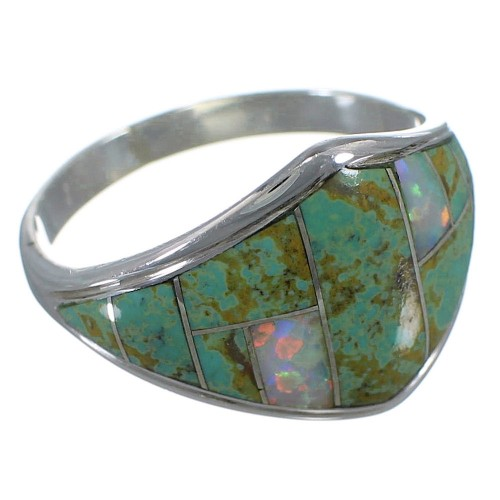 Turquoise And Opal Inlay Sterling Silver Jewelry Ring Size 8-1/4 AX52324