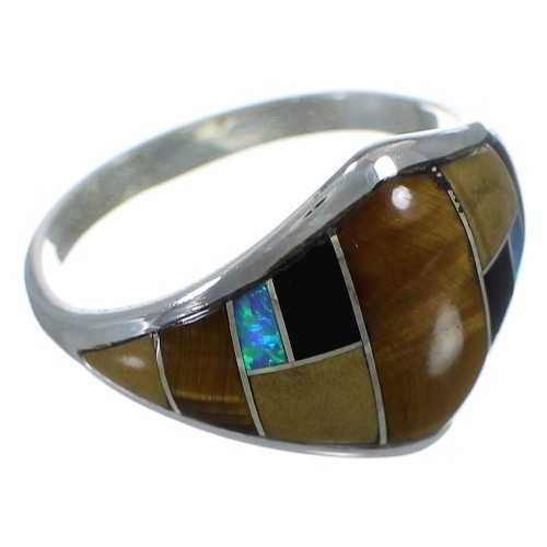 Multicolor Inlay Southwestern Sterling Silver Ring Size 8-1/2 AX52506