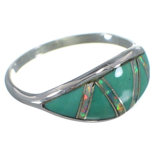 Southwest Silver Turquoise And Opal Ring Size 4-3/4 AX51980